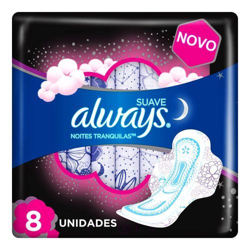 absorvente Always Noturno Suave Com Abas - Leve 8 Pague 7 - Always