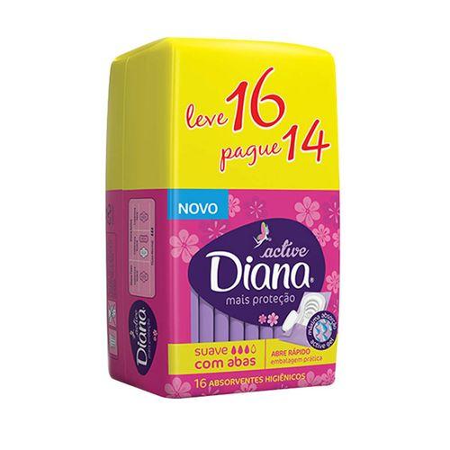 absorvente Diana Active Suave Com Abas - Leve 16 Pague 14 - Diana Active