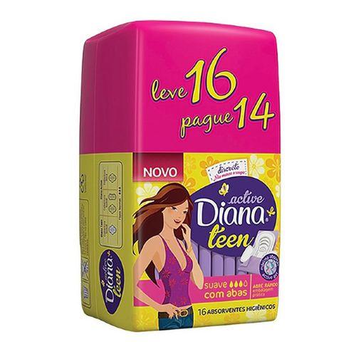 absorvente Diana Active Teen Suave Com Abas - Leve 16 Pague 14 - Diana Active