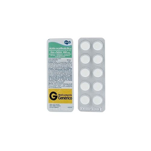 Aas Ácido Acetilsalicilico 500mg Adulto 10 Comprimidos - Genérico - Ems