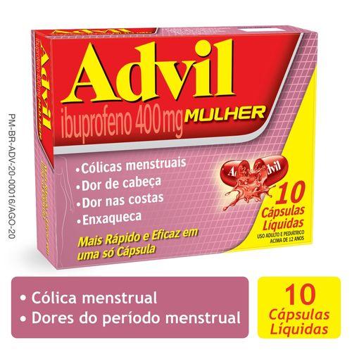 Advil Mulher 400mg Analgésico para Alívio da Cólica Menstrual blister com 10 cápsulas líquidas
