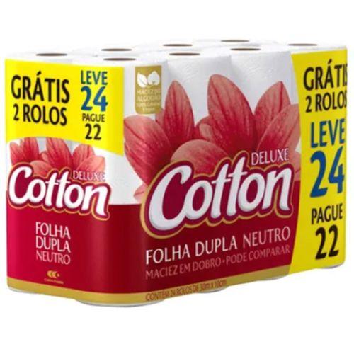 Papel Higiênico Cotton Folha Dupla Compacto - Leve 24 Pague 22 - Cotton