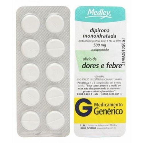Dipirona Sódica 500mg Genérico Medley  C/10 comprimidos