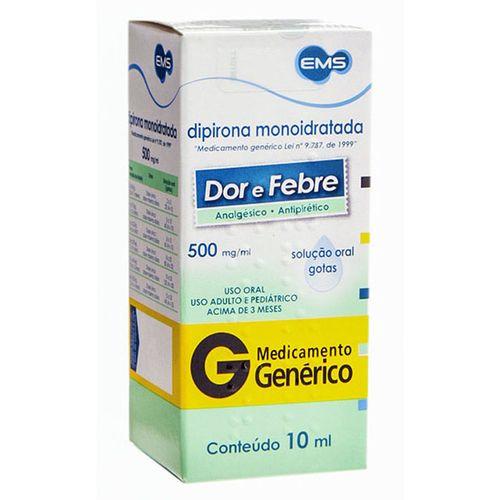 Dipirona Sodica 500mg Sl Or 10ml - Genérico - Ems