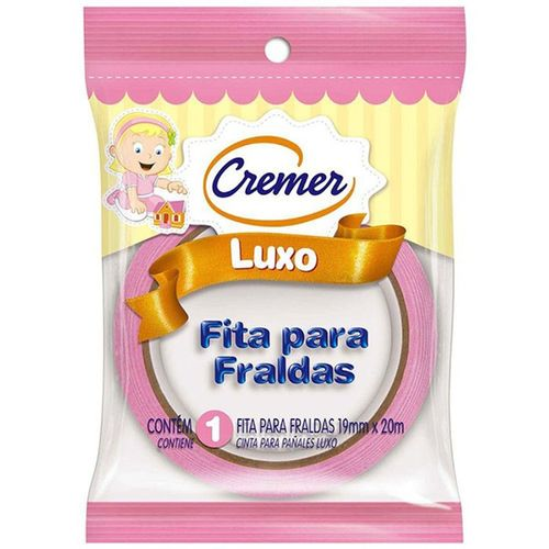 Fita Adesivos Fraldas Cremer Luxo Rosa 19Mmx20Mt - Cremer