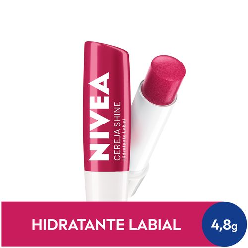 NIVEA Hidratante Labial Cereja Shine Hidratação Profunda 4,8 g